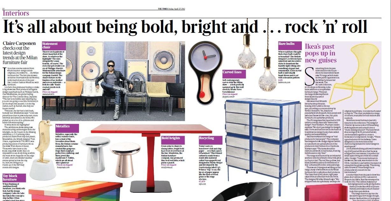 Peça da Rio+Design Milão 2012 ganha destaque no britânico The Times