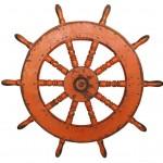 Timao em madeira macica com pintura tangerina envelhecida com 110cm de diametro por 6cm de espessura na RUG HOLD