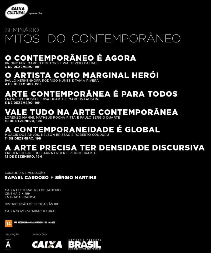 """Caixa Cultural apresenta seminário para discutir o """"contemporâneo"""""""