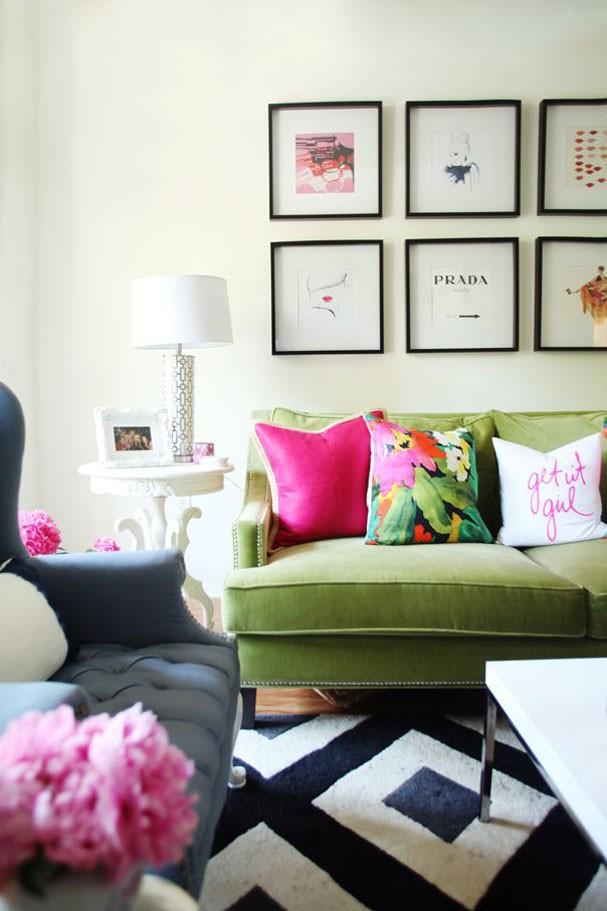 Décor do dia: sala verde e rosa