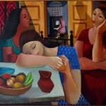 Di Cavalcanti - Mulheres e frutas - Óleo sobre tela - 81 x 100 cm - 1962