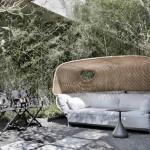 Acima, a loveseat Tigmi, a dupla de cadeiras SeaX e a mesa de apoio Satellite, todas assinadas por Jean-Marie Massaud para a Dedon, no espaço Casa Niwa, do escritório Yamagata Arquitetura (foto: MCA Estúdio)