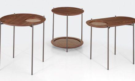 ACERVO: Poltrona, banco e mesas laterais da Colecão Donatela – design Fabricio Roncca