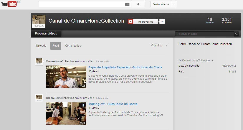 Canal Ornare no You Tube completa um ano