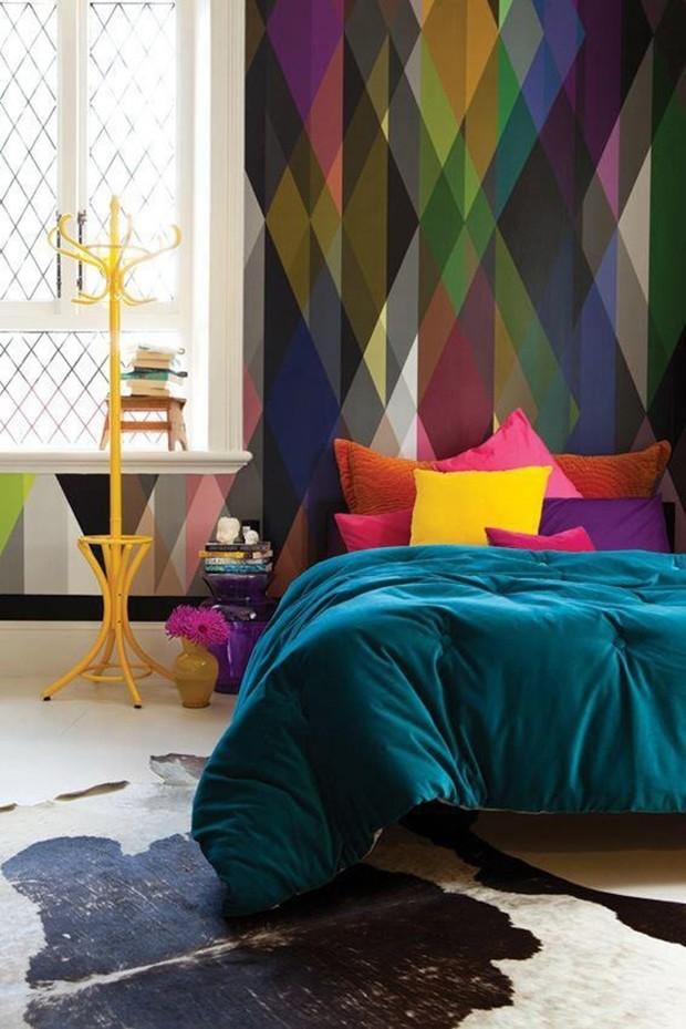 Décor do dia: quarto colorido e geométrico