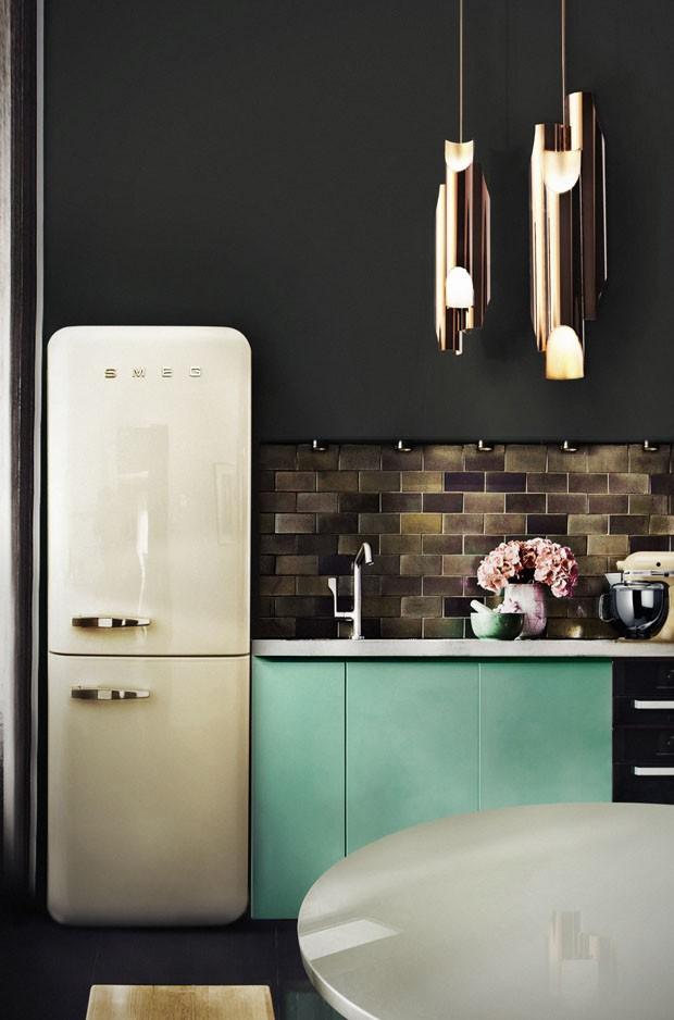Décor do dia: cozinha turquesa e dourada